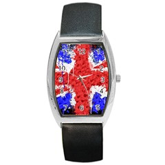 Distressed British Flag Bling Black Leather Watch (tonneau) by artattack4all