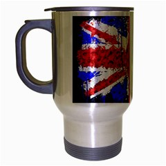 Distressed British Flag Bling Brushed Chrome Travel Mug by artattack4all