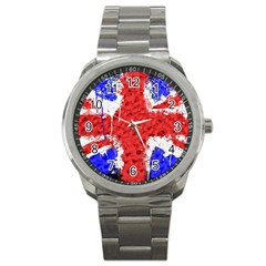 Distressed British Flag Bling Stainless Steel Sports Watch (round) by artattack4all
