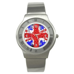 Distressed British Flag Bling Stainless Steel Watch (round) by artattack4all