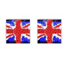 Distressed British Flag Bling Square Cuff Links by artattack4all