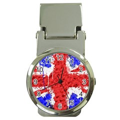 Distressed British Flag Bling Chrome Money Clip With Watch by artattack4all