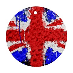 Distressed British Flag Bling Twin Sided Ceramic Ornament (round) by artattack4all