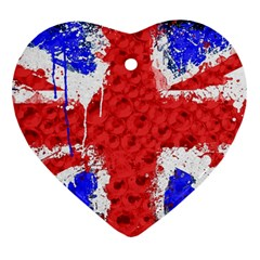 Distressed British Flag Bling Heart Ornament (two Sides) by artattack4all