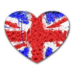 Distressed British Flag Bling Mouse Pad (heart) by artattack4all