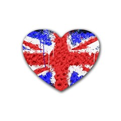 Distressed British Flag Bling Rubber Drinks Coaster (heart) by artattack4all
