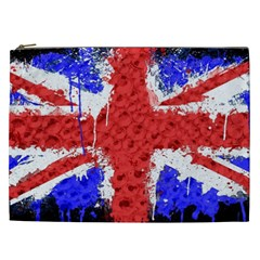 Distressed British Flag Bling Cosmetic Bag (xxl) by artattack4all