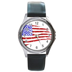 Sparkling American Flag Black Leather Watch (round) by artattack4all