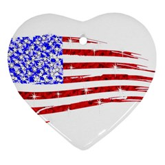 Sparkling American Flag Ceramic Ornament (heart) by artattack4all