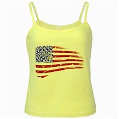 Sparkling American Flag Yellow Spaghetti Top