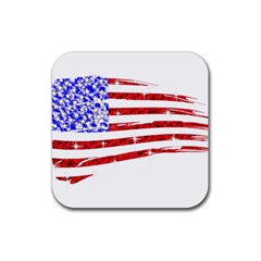 Sparkling American Flag 4 Pack Rubber Drinks Coaster (square) by artattack4all