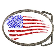 Sparkling American Flag Belt Buckle (Oval) by artattack4all