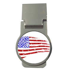 Sparkling American Flag Money Clip (round) by artattack4all