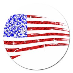 Sparkling American Flag Extra Large Sticker Magnet (round)