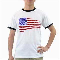 Sparkling American Flag White Ringer Mens'' T Shirt by artattack4all