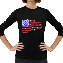 Sparkling American Flag Dark Colored Long Sleeve Womens'' T Shirt by artattack4all