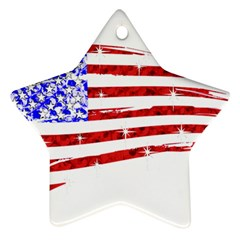 Sparkling American Flag Twin Sided Ceramic Ornament (star) by artattack4all