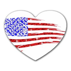 Sparkling American Flag Mouse Pad (heart) by artattack4all
