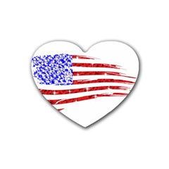 Sparkling American Flag 4 Pack Rubber Drinks Coaster (heart)