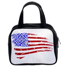 Sparkling American Flag Twin Sided Satched Handbag