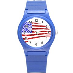 Sparkling American Flag Round Plastic Sport Watch Small by artattack4all