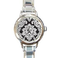 Diamond Bling Glitter On Damask Black Classic Elegant Ladies Watch (round) by artattack4all