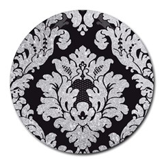Diamond Bling Glitter On Damask Black 8  Mouse Pad (round) by artattack4all