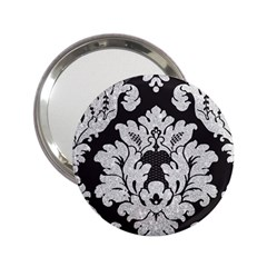 Diamond Bling Glitter On Damask Black Handbag Mirror by artattack4all