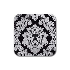 Diamond Bling Glitter On Damask Black 4 Pack Rubber Drinks Coaster (square) by artattack4all