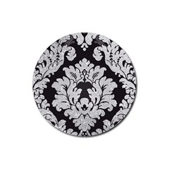 Diamond Bling Glitter On Damask Black Rubber Drinks Coaster (round) by artattack4all