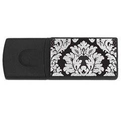 Diamond Bling Glitter on Damask Black 2Gb USB Flash Drive (Rectangle) by artattack4all