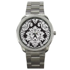 Diamond Bling Glitter On Damask Black Stainless Steel Sports Watch (round) by artattack4all