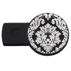 Diamond Bling Glitter On Damask Black 4gb Usb Flash Drive (round) by artattack4all
