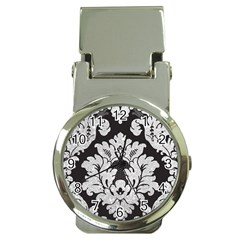 Diamond Bling Glitter On Damask Black Chrome Money Clip With Watch by artattack4all