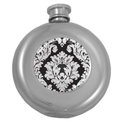 Diamond Bling Glitter On Damask Black Hip Flask (round) by artattack4all