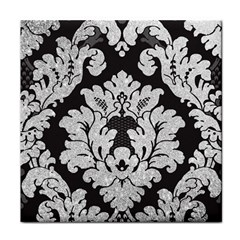 Diamond Bling Glitter On Damask Black Face Towel by artattack4all