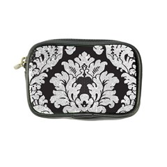 Diamond Bling Glitter On Damask Black Ultra Compact Camera Case by artattack4all