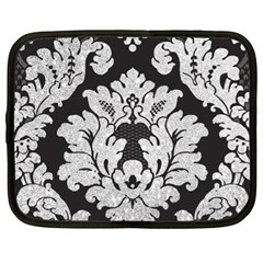 Diamond Bling Glitter On Damask Black 13  Netbook Case by artattack4all