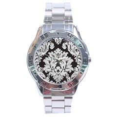 Diamond Bling Glitter On Damask Black Stainless Steel Analogue Watch (round) by artattack4all