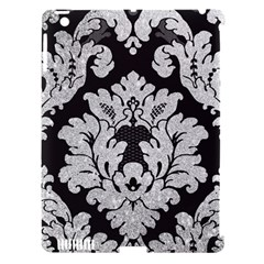 Diamond Bling Glitter On Damask Black Apple Ipad 3/4 Hardshell Case (compatible With Smart Cover) by artattack4all