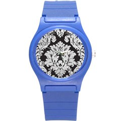 Diamond Bling Glitter On Damask Black Round Plastic Sport Watch Small by artattack4all