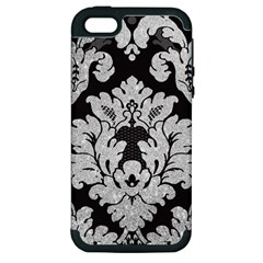 Diamond Bling Glitter On Damask Black Apple Iphone 5 Hardshell Case (pc+silicone) by artattack4all