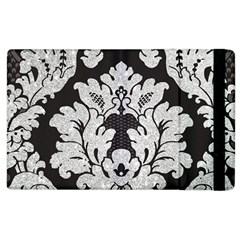 Diamond Bling Glitter On Damask Black Apple Ipad 3/4 Flip Case by artattack4all