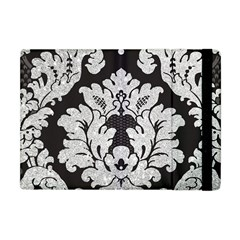 Diamond Bling Glitter On Damask Black Apple Ipad Mini Flip Case by artattack4all