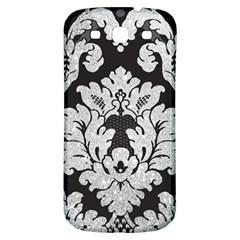 Diamond Bling Glitter On Damask Black Samsung Galaxy S3 S Iii Classic Hardshell Back Case by artattack4all