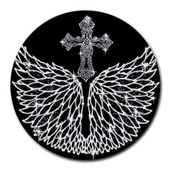 Bling Wings And Cross 8  Mouse Pad (round) by artattack4all