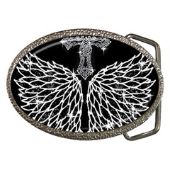 Bling Wings And Cross Belt Buckle (oval) by artattack4all