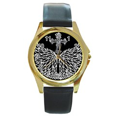 Bling Wings And Cross Black Leather Gold Rim Watch (round) by artattack4all