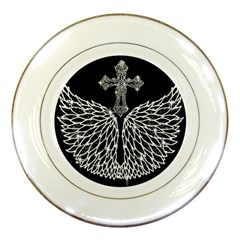 Bling Wings And Cross Porcelain Display Plate by artattack4all