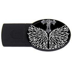 Bling Wings And Cross 4gb Usb Flash Drive (oval) by artattack4all